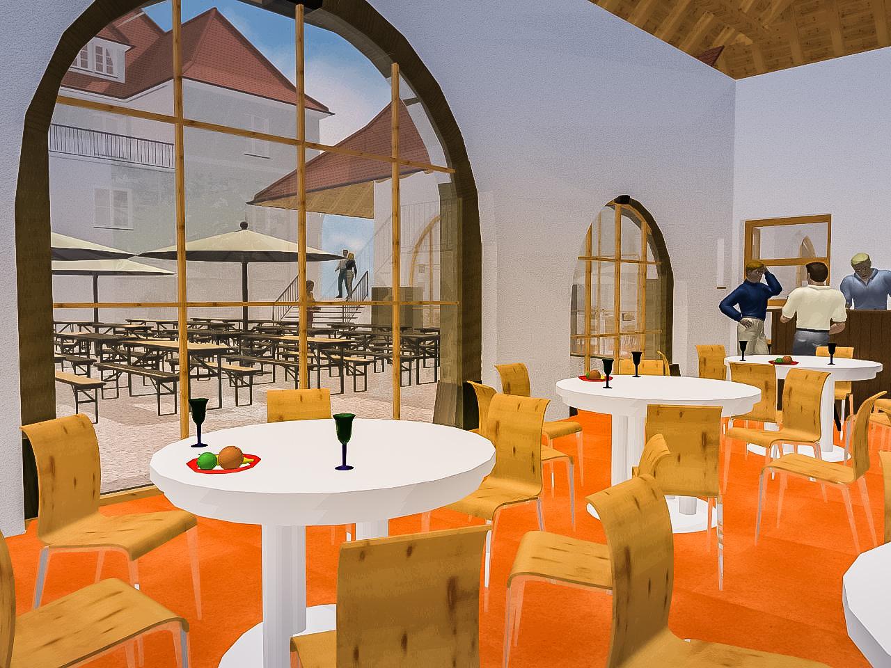 Gasthaus mit Biergarten – 3D Visualisierung